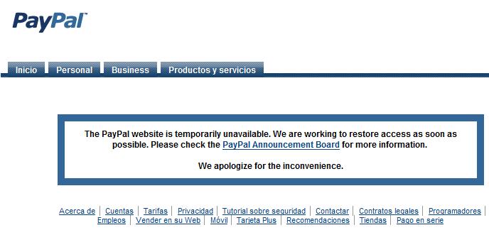 Paypal caido